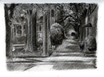 (Sketchbook 2005-7) - Iowa City Alley Way - Charcoal